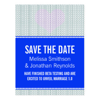 Geek Chic Save the Date Postcard, Blue w/ Heart Postcard