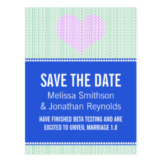 Geek Chic Save the Date Postcard, Blue w/ Heart v4 Postcard