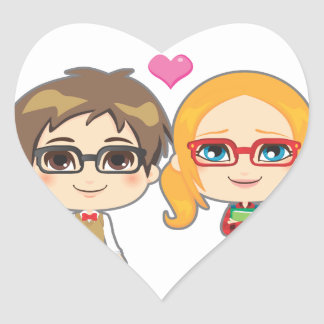 Geek Couple Heart Sticker