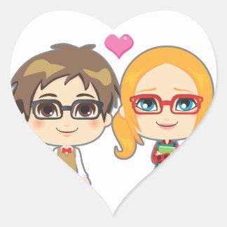 Geek Couple Heart Stickers