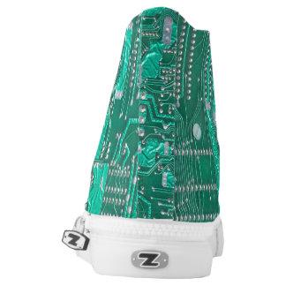 Geek electronic circuit board tennis shoe