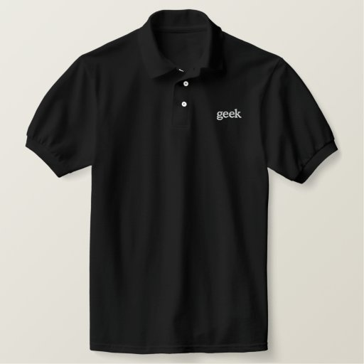 geek embroidered polo shirt
