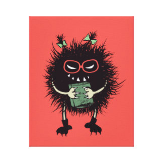 Geek Evil Bug Character Loves Reading Canvas Print