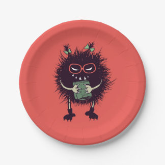 Geek Evil Bug Character Loves Reading Paper Plate