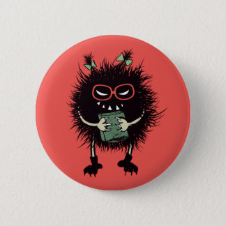 Geek Evil Bug Student With Book 6 Cm Round Badge