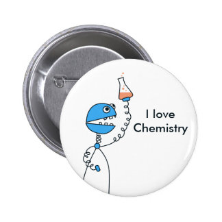 Geek Funny Cartoon Robot Love Chemistry 6 Cm Round Badge