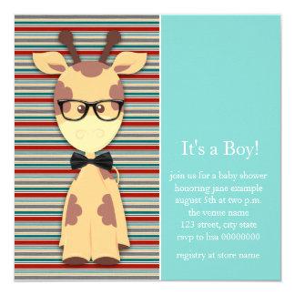 Geek Giraffe Baby Boy Shower Card