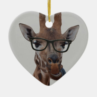 Geek Giraffe Ceramic Heart Decoration