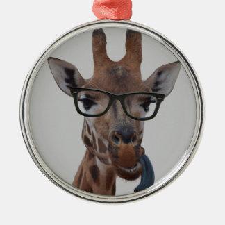Geek Giraffe Silver-Colored Round Decoration