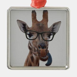 Geek Giraffe Silver-Colored Square Decoration