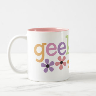 Geek Girl Daisies Two-Tone Coffee Mug