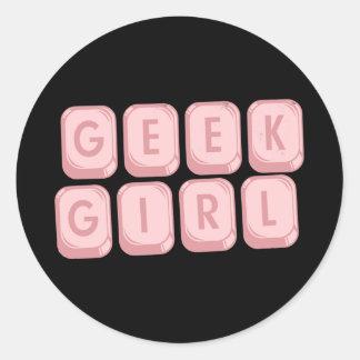 Geek Girl Pink Keyboard Round Sticker