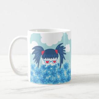 Geek Girl With Blue Hair And Flowers Coffee Mug