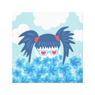 Geek Girl With Heart Shaped Eyes And Blue Flowers Canvas Print