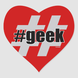Geek Hashtag Heart Stickers
