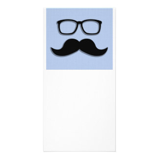 Geek Hipster Moustache Glasses Photo Card Template