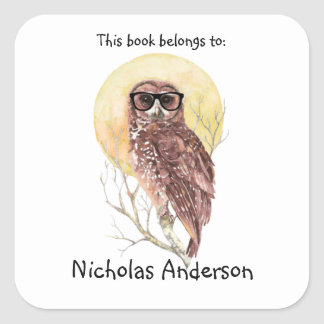 Geek Hipster Owl in Glasses Cool Bookplate Square Sticker