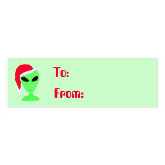 Geek Humor Little Green Men Santa Hat Gift Tags Business Card Template