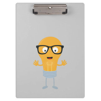 Geek light bulb with glasses Z76fc Clipboard