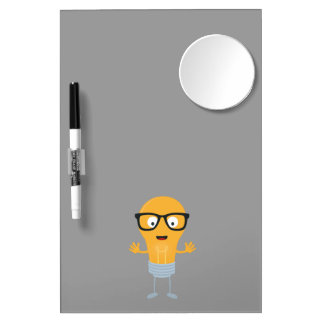Geek light bulb with glasses Z76fc Dry Erase Board With Mirror