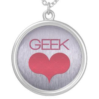 Geek Love (Heart) Necklace, Dark Pink