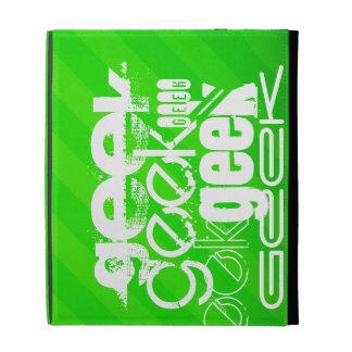 Geek; Neon Green Stripes iPad Folio Cover