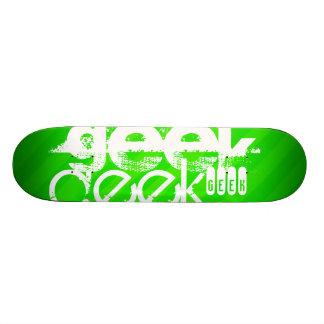 Geek; Neon Green Stripes Custom Skate Board