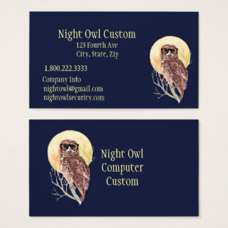 Geek Night Owl in Glasses Customize Business Card