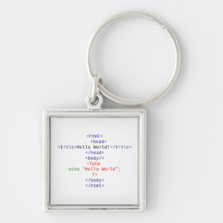 Geek php Greeting Silver-Colored Square Key Ring