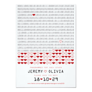 Geek Programmed For Love Binary Code Save The Date Card