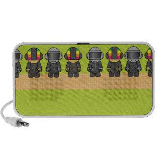 geek robots in a row laptop speakers