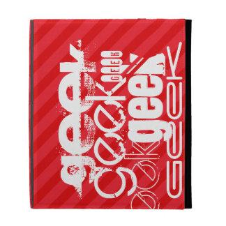 Geek; Scarlet Red Stripes iPad Folio Cases
