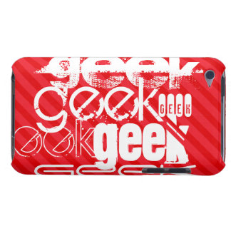 Geek; Scarlet Red Stripes Barely There iPod Cases