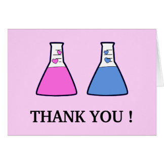Geek Science Beaker Hearts Baby Shower Thank You Card