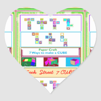 GEEK Street  7 CUBE : Kids Paper Craft Lessons Heart Sticker