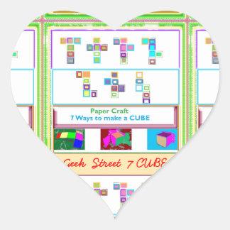 GEEK Street  7 CUBE : Kids Paper Craft Lessons Heart Sticker