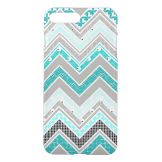 Geek Turquoise, Mint and White Chevron pattern iPhone 8 Plus/7 Plus Case