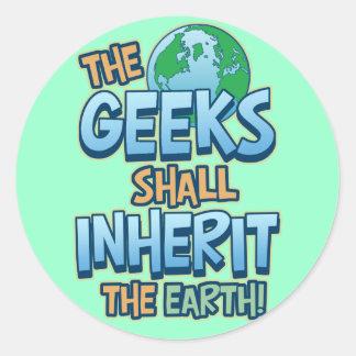 Geeks Inherit Earth Round Sticker