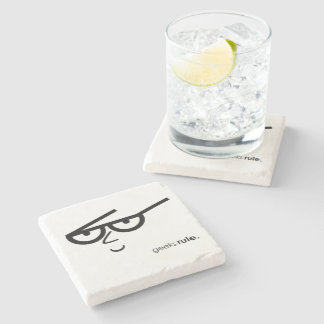 """Geeks Rule"" Funny-looking Face with Eyeglasses Stone Coaster"