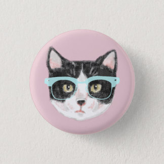 Geeky Black & White Hipster Cat Wearing Glasses 3 Cm Round Badge