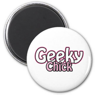 Geeky Chick 6 Cm Round Magnet
