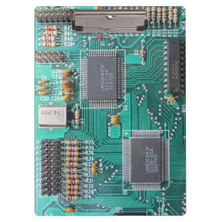 Geeky, circuit board, computer motherboard clipboard