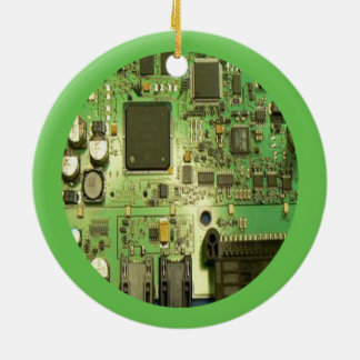 Geeky Circuit Board with Green Border Ceramic Ornament
