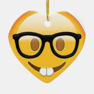 Geeky Emoji Smiley Face Ceramic Ornament