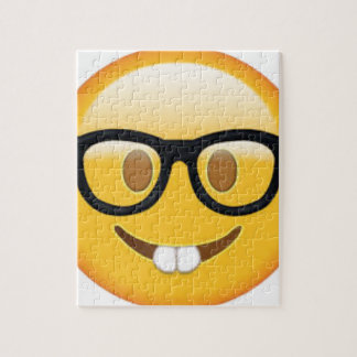 Geeky Emoji Smiley Face Jigsaw Puzzle