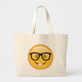 Geeky Emoji Smiley Face Large Tote Bag