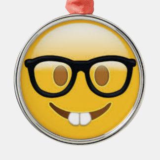 Geeky Emoji Smiley Face Metal Ornament