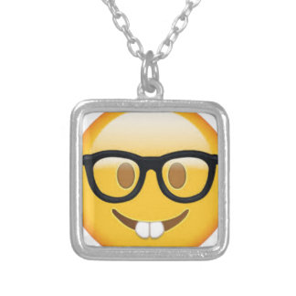 Geeky Emoji Smiley Face Silver Plated Necklace