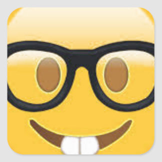 Geeky Emoji Smiley Face Square Sticker