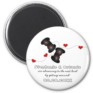 Geeky Gamers Save the Date Magnet, Dark 6 Cm Round Magnet